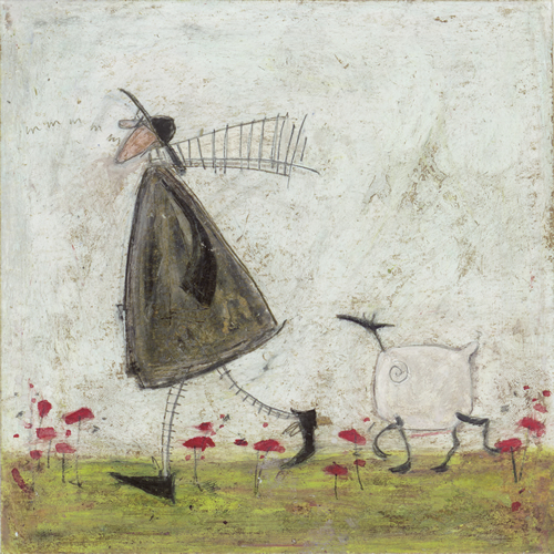 walking the sheepster by sam toft medium stretched canvas print edition 295 size image 50 x 50cm